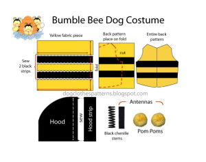 dog bee costume pattern
