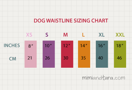 Dog sizing chart waistline